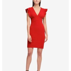 NWT DKNY red Ruffel sleeve sheath dress sz 4